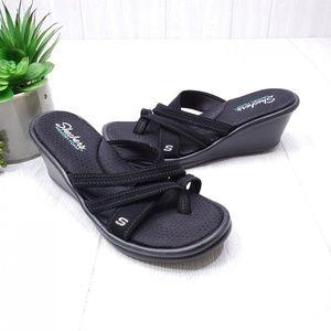 Skechers Memory Foam Strappy Wedge Sandals 10